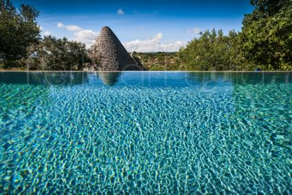 The infinity pool overlooking the Trulli valley