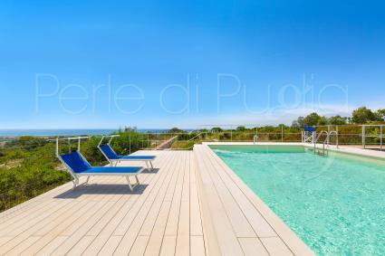 Nuovissima la piscina con solarium vista mare che impreziosisce il complesso di ville