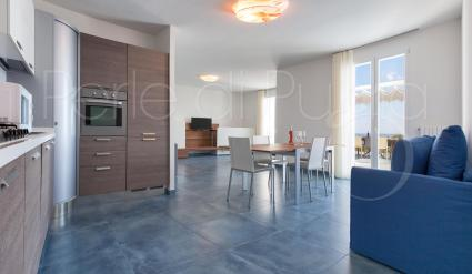 The living room with kitchenette is furnished in a modern style