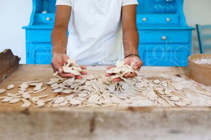 The traditional apulian pasta: orecchiette