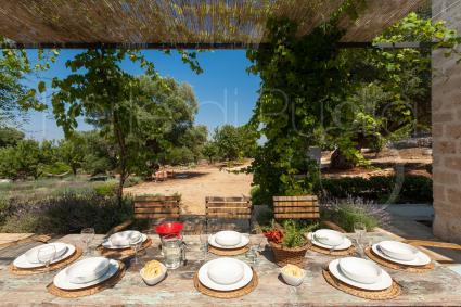 In vacanza sarà piacevole pranzare con vista sul verde rigoglioso della tenuta