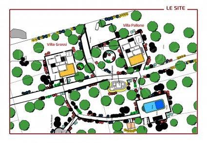 The map of the villa for rent in the countryside of Ostuni