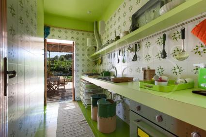 colorful and fully-equipped kitchen