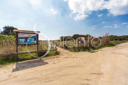 L`accesso alla spiaggia di fronte alla villetta sul mare di Porto Cesareo