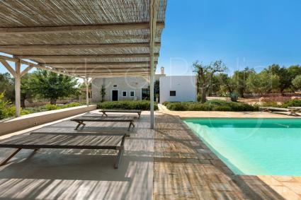 Il patio ombreggiato dotato di lettini per il riposo