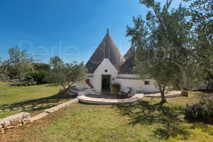 The ancient charm of the complex of trulli surrounded by vegetation