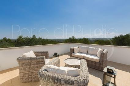The beautiful terrace with panoramic view on the Itria Valley