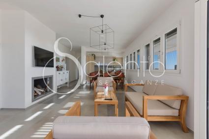Ampio soggiorno con divani, camino, sala pranzo con cucina a vista
