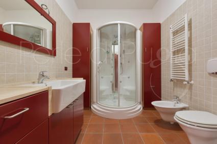 Bathroom with hydromassage shower on the basement floor