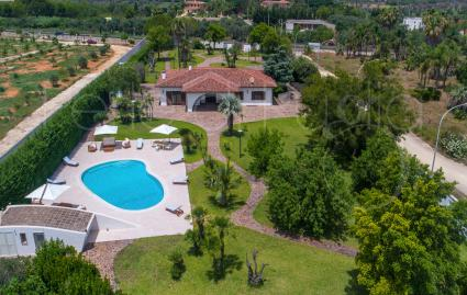 The beautiful villa and private park seen from the drone