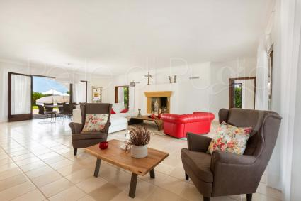 The cozy living room of the villa for rent in the heart of Salento