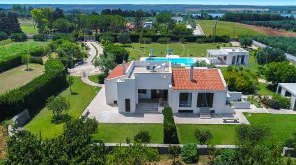 The villa seen from the drone