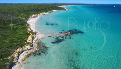 The coast of Otranto and its beaches, seen from a drone