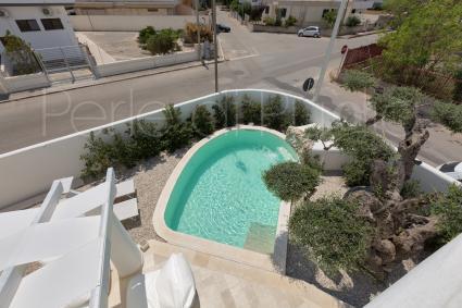 La piscina della villa in affitto vista dall`alto della terrazza