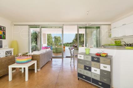 Il grande soggiorno è composto da salone e da una spaziosa sala pranzo con cucina