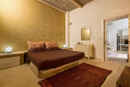 The sleeping area of the Luxury Apartment is made up of 3 double rooms with a bathroom