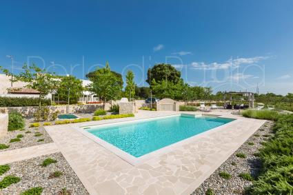 Around the pool, the landscaped garden