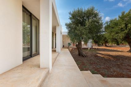 Large living room with sofa bed and glass doors with view on the olive trees
